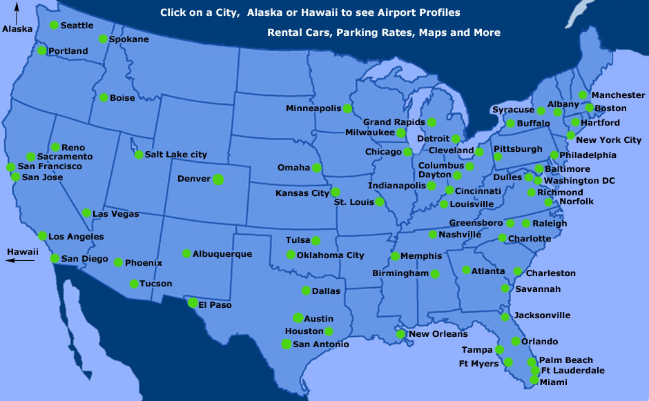 united states international airports map United States Map With Airports